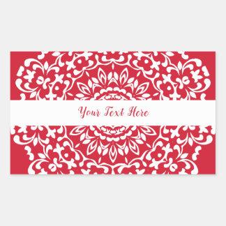 名前入りな赤く白くエレガントで上品なレース 長方形シール