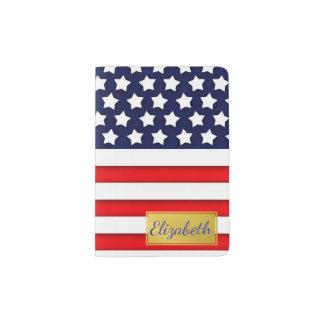 名前入りな赤く、白く、および青米国の旗 パスポートカバー
