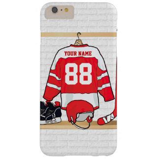 名前入りな赤と白のアイスホッケージャージー スキニー iPhone 6 PLUS ケース