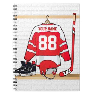 名前入りな赤と白のアイスホッケージャージー ノートブック
