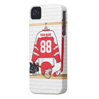 名前入りな赤と白のアイスホッケージャージー Case-Mate iPhone 4 ケース