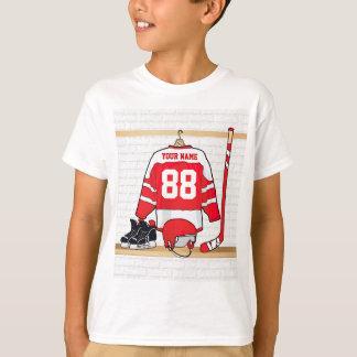 名前入りな赤と白のアイスホッケージャージー Tシャツ