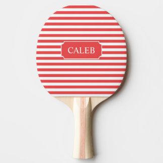 名前入りな赤のストライプの卓球ラケット 卓球ラケット