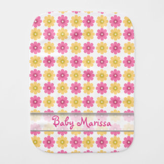 名前入りな赤ん坊のげっぷCloth|Prettyの花柄パターン バープクロス