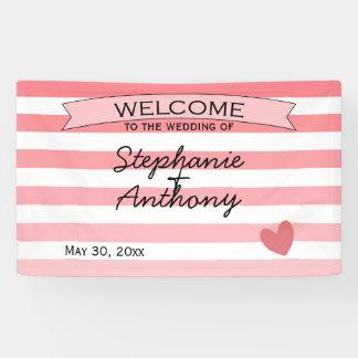 名前入りな赤面のピンクのストライプのでグラデーションな結婚式 横断幕