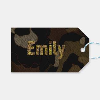 名前入りな軍のカムフラージュのフォントエミリー ギフトタグ