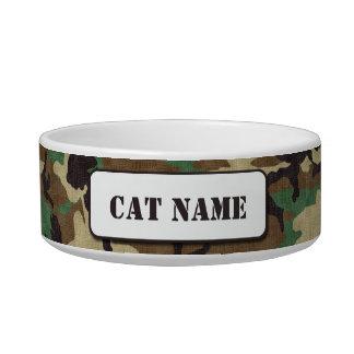 名前入りな軍隊の森林カムフラージュ猫ボール ボウル