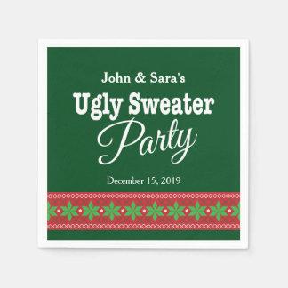 名前入りな醜いセーターのクリスマス・パーティ スタンダードカクテルナプキン