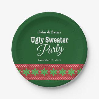 名前入りな醜いセーターのクリスマス・パーティ ペーパープレート