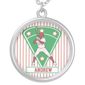 名前入りな野球のねり粉の星の赤 シルバープレートネックレス