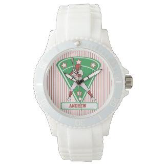 名前入りな野球のねり粉の星の赤 腕時計