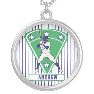 名前入りな野球のねり粉の星の青 シルバープレートネックレス