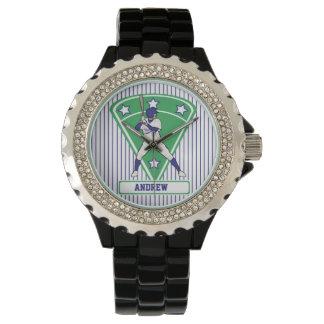 名前入りな野球のねり粉の星の青 腕時計