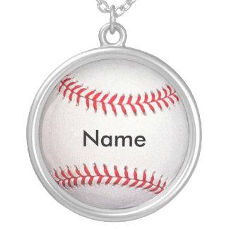 名前入りな野球のネックレス シルバープレートネックレス