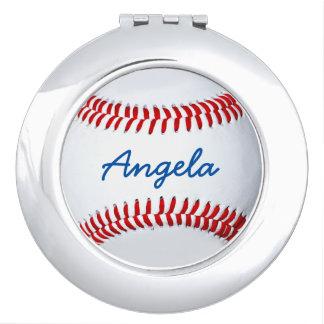 名前入りな野球の写真のコンパクトの鏡
