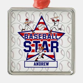名前入りな野球の星条旗 メタルオーナメント