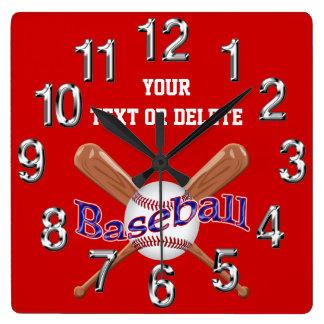 名前入りな野球の時計の変更色、文字 クロック