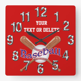 名前入りな野球の時計の変更色、文字 スクエア壁時計