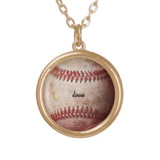 名前入りな野球ファンの女性のネックレス ゴールドプレートネックレス