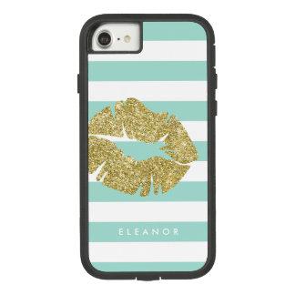 名前入りな金ゴールドのグリッターのキス Case-Mate TOUGH EXTREME iPhone 8/7ケース