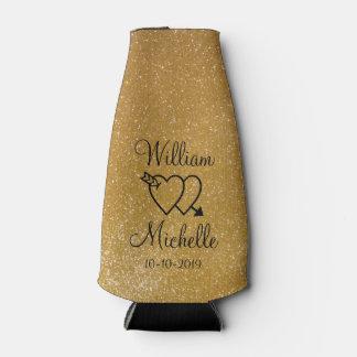 名前入りな金ゴールドのグリッターの結婚式のボトルのクーラー ボトルクーラー