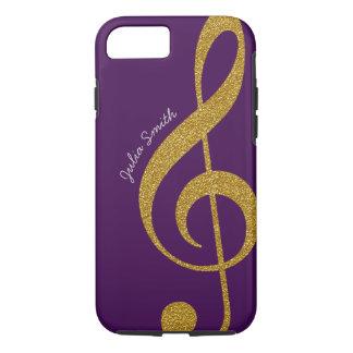名前入りな金ゴールドのト音記号音楽紫色 iPhone 8/7ケース
