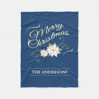 名前入りな金ゴールドのメリークリスマスの白いポインセチア フリースブランケット