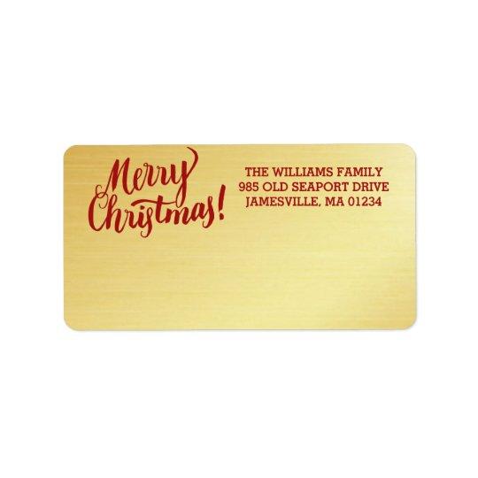 名前入りな金ゴールドのメリークリスマスの郵送物のラベル ラベル