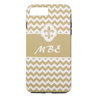 名前入りな金ゴールドの白い(紋章の)フラ・ダ・リシェブロン iPhone 8 PLUS/7 PLUSケース