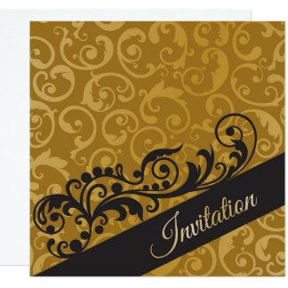 名前入りな金ゴールドの黒の誕生日のパーティの招待状 カード