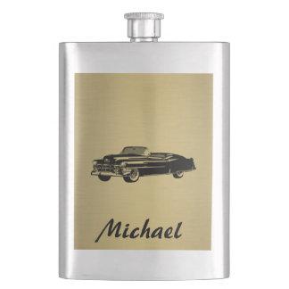 名前入りな金一見のヴィンテージの上品で古い車 フラスク