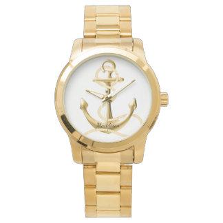 名前入りな金時計の金ゴールドのいかりのファッション・ウォッチ 腕時計