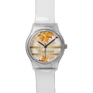 名前入りな金紅葉のデザイン 腕時計