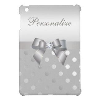 名前入りな銀製の水玉模様、弓及びダイヤモンド iPad MINI CASE