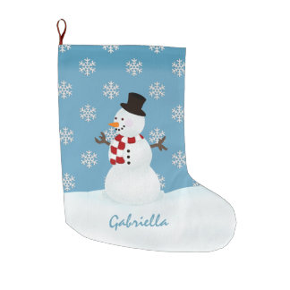 名前入りな雪だるまのクリスマスのストッキング ラージクリスマスストッキング