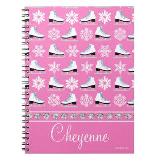 名前入りな雪片およびフィギュアスケートパターン ノートブック