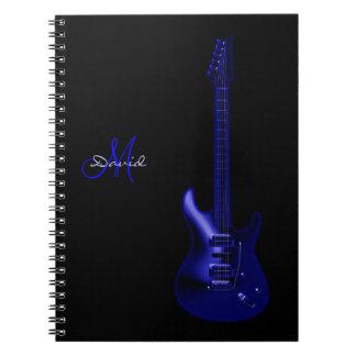 名前入りな電気青いギター音楽ノート ノートブック
