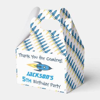 名前入りな青いレトロのRocketshipの誕生会 フェイバーボックス