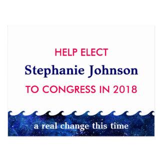 名前入りな青い波の選挙運動2018年 ポストカード