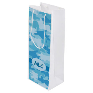 名前入りな青い海軍カムフラージュのモノグラム ワインギフトバッグ