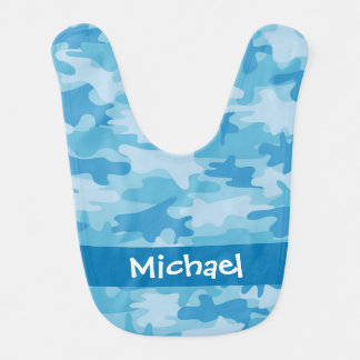 名前入りな青い迷彩柄のカムフラージュの名前 ベビービブ