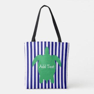 名前入りな青および緑のウミガメのビーチのバッグ トートバッグ