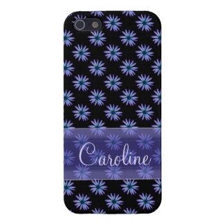 名前入りな青デイジーの花パターン iPhone 5 COVER