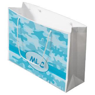 名前入りな青緑のカムフラージュのモノグラム ラージペーパーバッグ