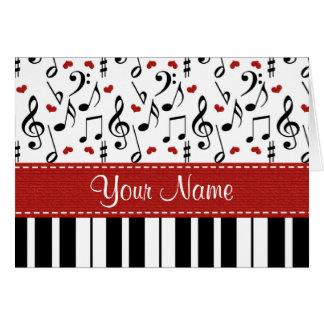 名前入りな音楽ノートのピアノメッセージカード カード