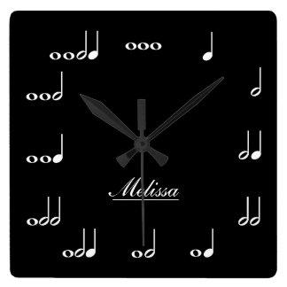名前入りな音楽ノート スクエア壁時計