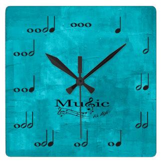 名前入りな音楽ノート-音楽は生命です スクエア壁時計