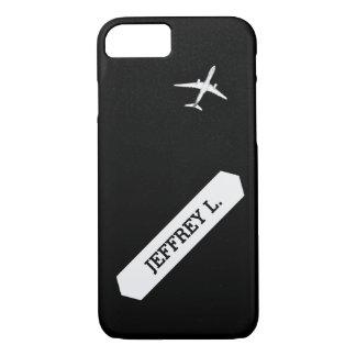 名前入りな飛んでいるで遠くにな|の高度の飛行機 iPhone 8/7ケース