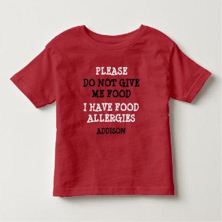 名前入りな食物アレルギー警報ワイシャツ トドラーTシャツ
