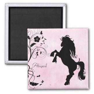 名前入りな養育馬および花の磁石 マグネット